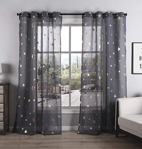 Kotile Grommet Top Gold Stars Sheer Curtains 84 Inch for Bedroom, Living Room Window Drapes Cosmic Theme Foil Print Twinkle Set Dark Grey Curtain, W52 x L84 Inches