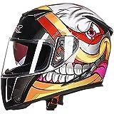 Leoie Men Full Face Helmet, Motorcycle Electrombile Helmet Double Lens Anti-Fog Helmet Bright White Graffiti M