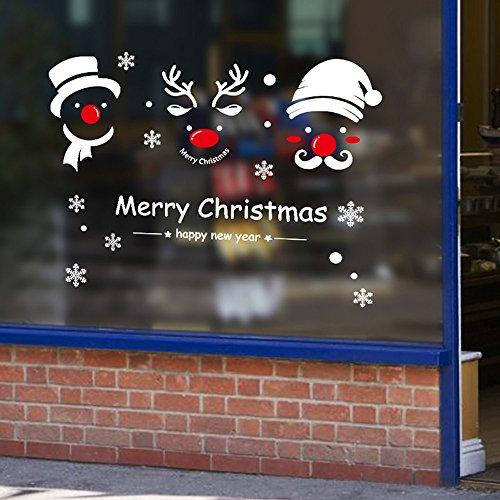 Futemo Christmas Snowman Wall Sticker Wall Glass Window Wallpaper Decoration Art Decals Wall Decoration Home Decor ()