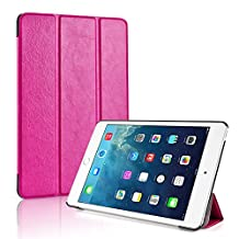 TNP iPad Mini 4 Case (Hot Pink) - Ultra Slim Lightweight Folio Smart Cover Stand with Auto Sleep Wake Feature and Hard Rubberized Back for Apple iPad Mini 4 7.9 Inch Tablet 2015 Release