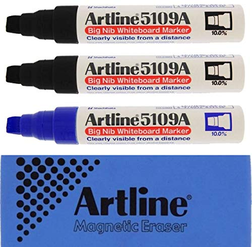 (Jiffco Artline 5109A Big Nib Whiteboard Markers 3 Pack 2x Black & 1x Blue Bundle With Magnetic Eraser )