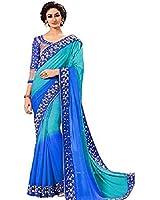 jashvi creation Faux Georgette Saree With Blouse Piece
