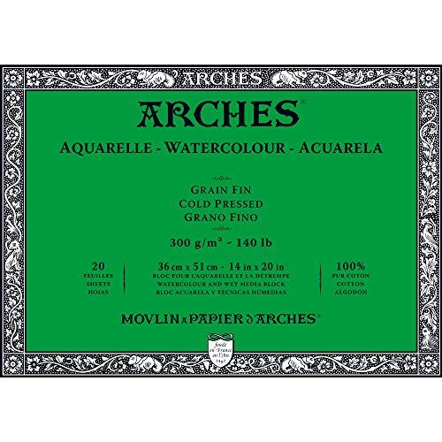 """Arches Watercolor Paper Block, Cold Press, 14"""" x 20"""", 140 pound"""