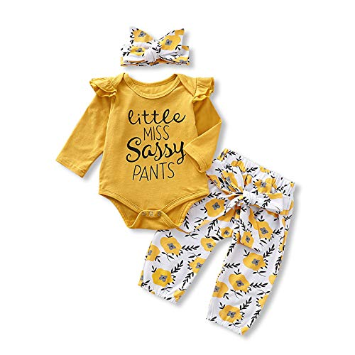 Newborn Baby Girl Clothes Infant Ruffle Romper Onesies Floral Toddler Pants Set Cute Baby Girl Outfit