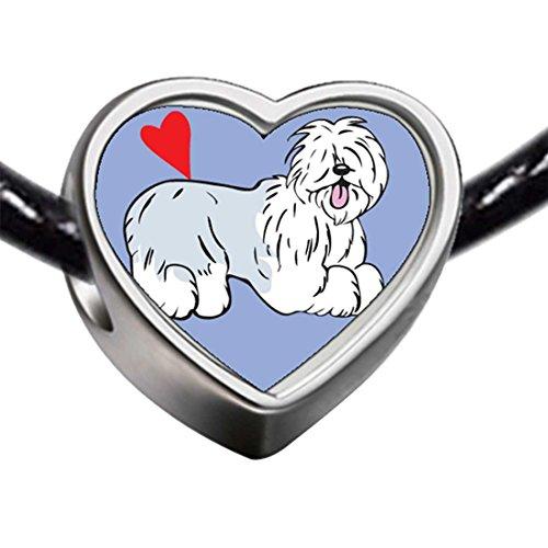 (GiftJewelryShop Silver Plated Old English Sheepdog Animal Photo Heart Bead Charm Bracelets)