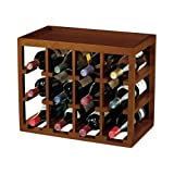 12 Bottle Cube Stackable Hardwood Wine Rack
