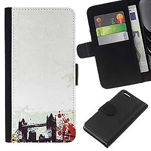 KingStore / Leather Etui en cuir / Apple Iphone 5C / Arte del puente de Brooklyn de Nueva York Estados unidos