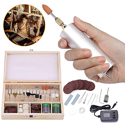 Mini Electric Drill, 0.8mm - 3.5mm Micro Aluminum Portable Handheld DIY Electrical Drill Grinder With Bits Set for Wood Jade Jewel Stone Small Crafts Cutting Drilling Grinding Engraving (125PCS/Set)