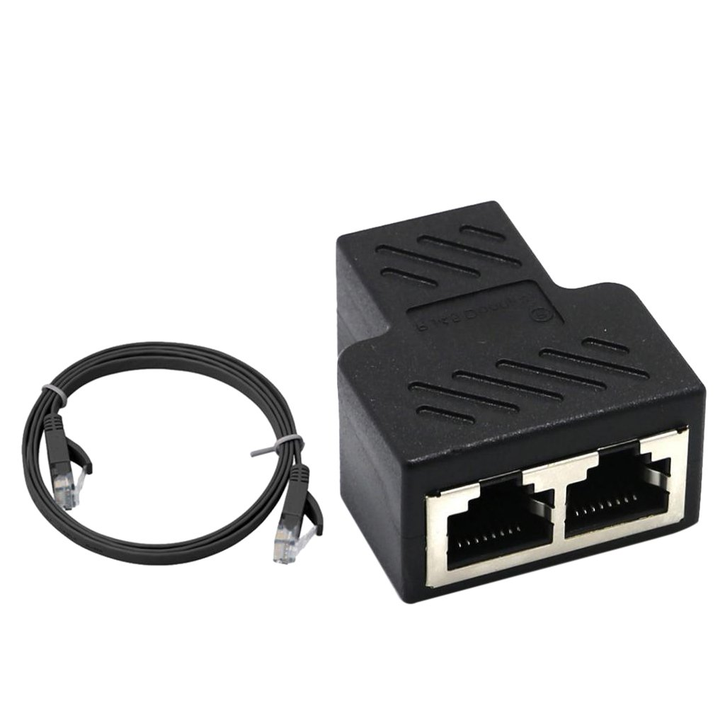 Baoblaze 2 Port RJ45 Splitter Adapter Lan Ethernet Cable Connector Plug Adapter with Lan Cable
