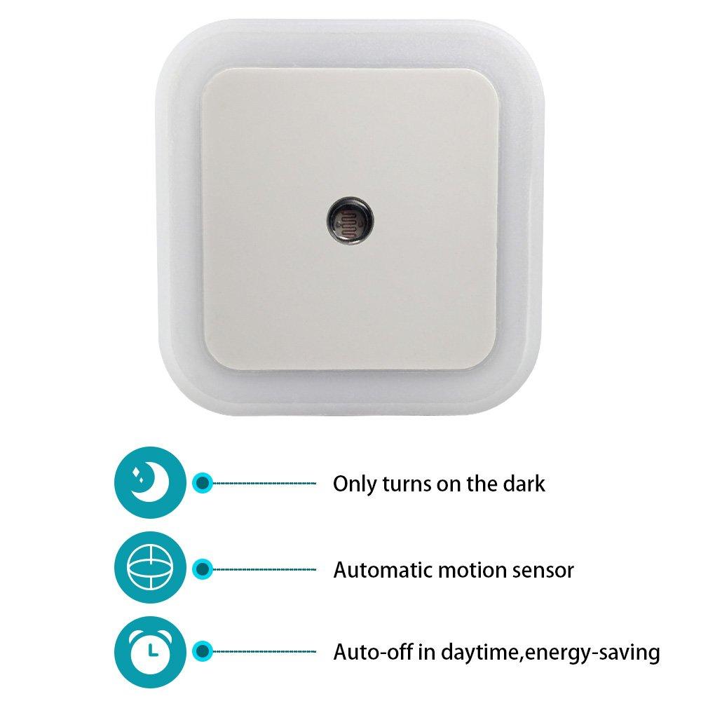 Automatic light sensor for bathroom - Led Night Light With Dusk To Dawn Sensor Lighting 0 5w Plug In Nightlight Lamp Soft Brightness For Kids Baby Nursery Bedroom Warm White 6 Pack Amazon