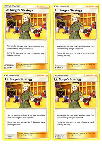 Trainer Card Play Set - Lt. Surge's Strategy - Sun Moon Unbroken Bonds - 4 Card lot ()