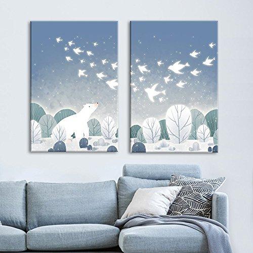 2 Panel Cartoon Animals Polar Bear on the Ice with Birds Gallery x 2 Panels