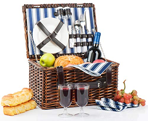 Picnic Basket for 2 | Handmade Picnic Hamper Set | Ceramic Plates Complete Kit Includes Metal Flatware Wine Glasses S/P Shakers and Bottle Opener | Blue Stripe Pattern Lining | - 2 Two Basket