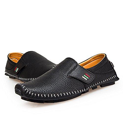 Ceyue Heren Sportschoenen Stuiver Loafers Casual Lederen Gestikte Loafer Schoenen Zwart / Nieuw