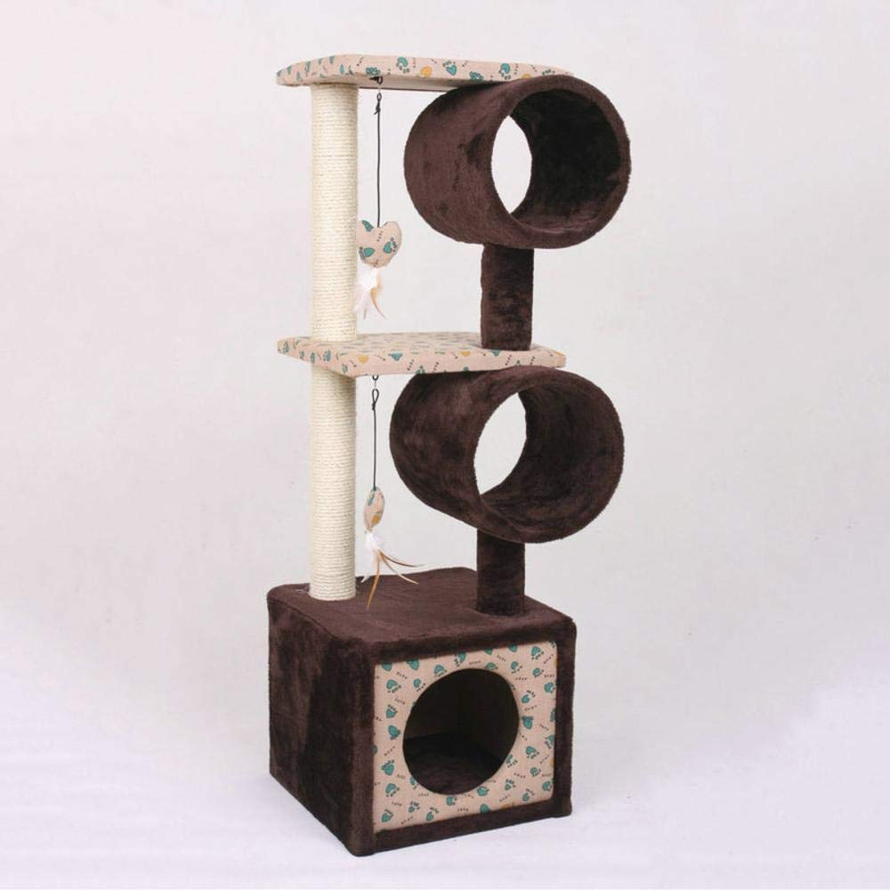 Deluxe Multi Cat Tower Creative Play Towers Trees for Cats Large Double Wooden pet semi-Open Plush sisal Grinding Claw 50.5x40.5x74cm