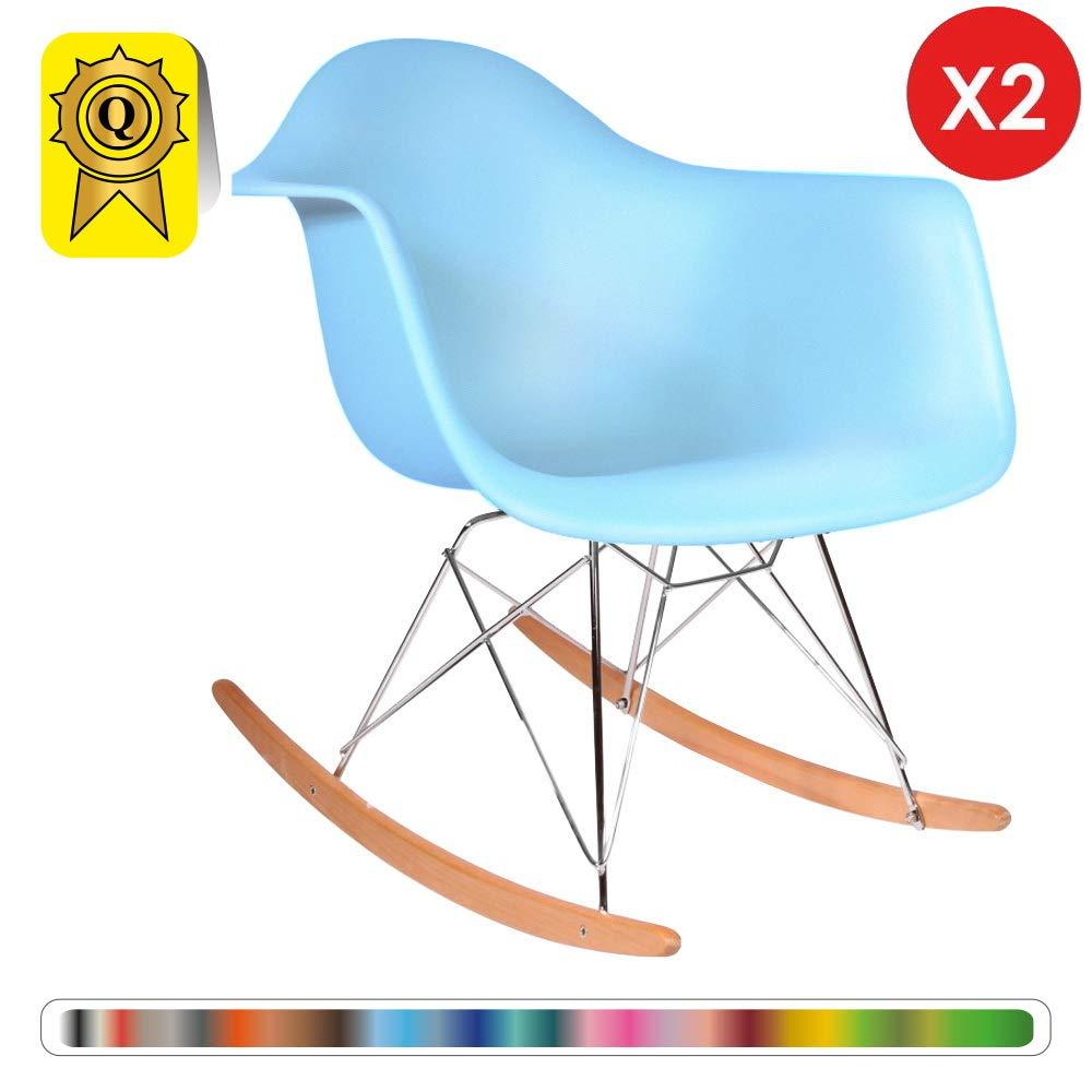 Decopresto 2 x Fauteuil /à Bascule Rocking Chair Scandinave Pieds Bois Naturel Assise Plastique Taupe