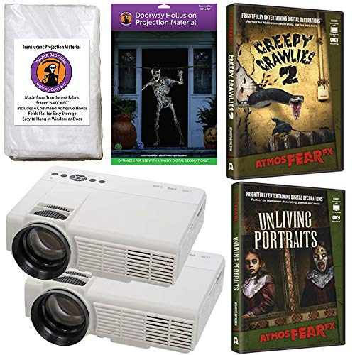 AtmosFearFx Halloween Digital Decoration Kit Includes: (Qty 2) Projectors + (1) Hollusion Door + (1) Reaper Bros Window Projection Screens + Unliving Portraits + Creepy Crawlies DVD's -