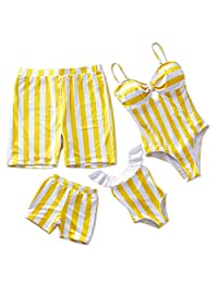 Yaffi Mommy and Me Swimsuit One Piece Striped Family Matching Swimwear Swimsuit