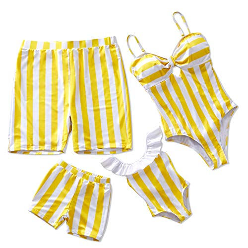 Yaffi Family Matching Swimsuit Striped One Piece Beach Wear 2019 Newest Off Shoulder Monokini Bathing Suit Baby Girls: 9-12 Months Yellow