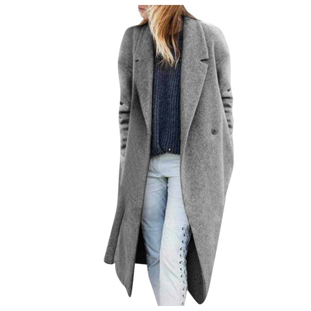 YANG-YI Trench Jacket Womens Casual Ladies Long Sleeves Overcoat with Pocket Gray by YANG-YI
