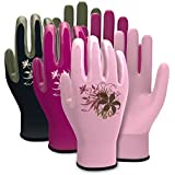 Vgo... Nitrile Coating Gardening and Work Gloves (3-Pairs)(Size S/M/L, Red, Pink, Black)