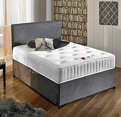 Complete Suede Divan Set with Mattress and Headboard (2.6FT Small Single) Universal Beds