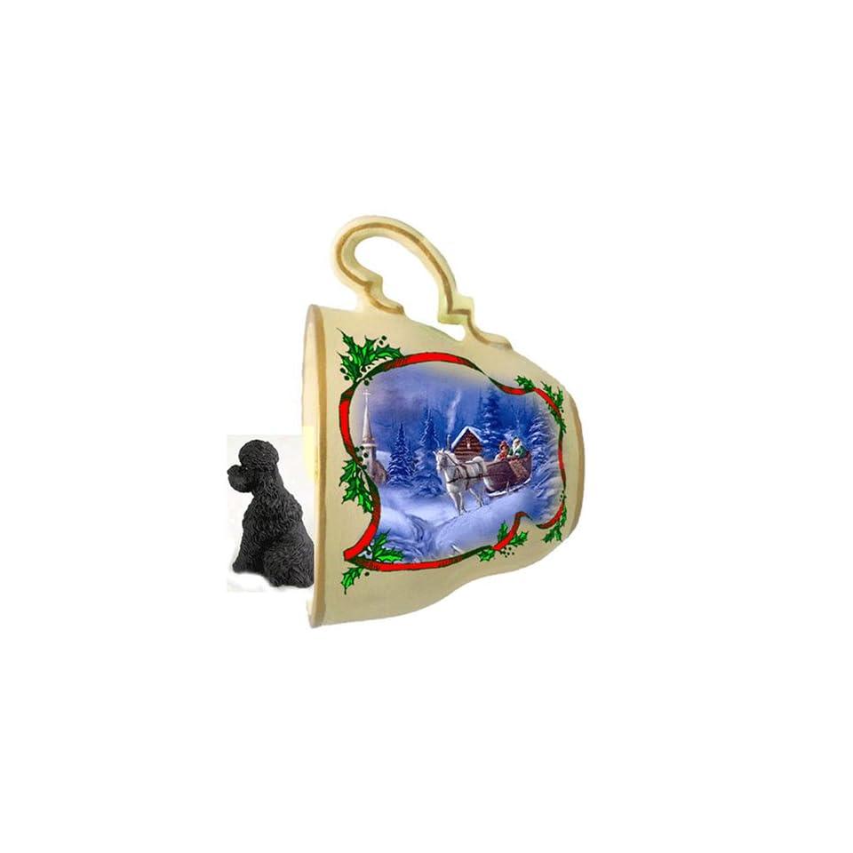 Black Poodle Sport cut Christmas Ornament Sleigh Ride Tea Cup