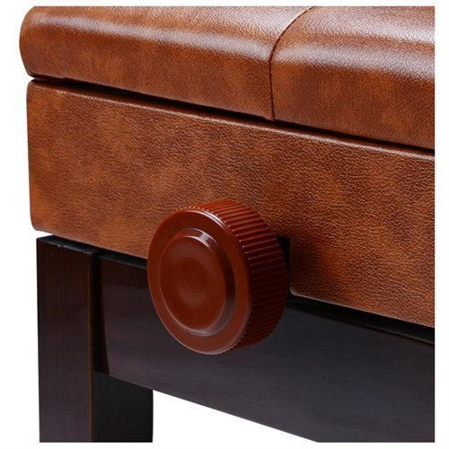 Height-adjustable Padded Wooden Piano Bench w/ Storage Compartment