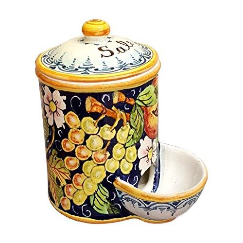 CERAMICHE D'ARTE PARRINI- Italian Ceramic Jar Salt Holder Decorated Grape Hand Painted Made in ITALY Tuscan Art Pottery