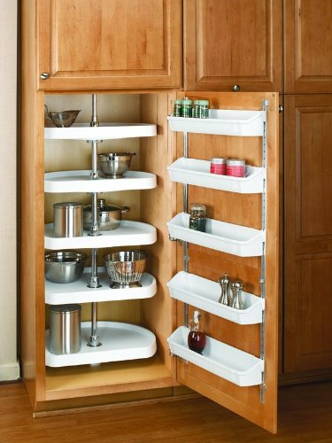 Rev-A-Shelf 6265-20-50 RAS Polymer 20'' Diameter D-Shaped Five Shelf Lazy Susan S, Almond