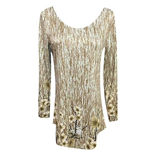 Kulywon Plus Size Women Loose Leisure Printed Collar Long Sleeve T-Shirt Latest Fashion Ladies Blouses Khaki -