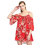 Women's Off Shoulder Plum Blossom Printed Chiffon Dress Red One Size