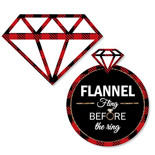 Big Dot of Happiness Flannel Fling Before The Ring - DIY Shaped Buffalo Plaid Bachelorette Party Cut-Outs - 24 Count