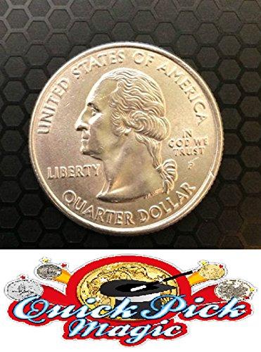 QUICK PICK MAGIC Bitten and Restored 25c David Blaine Magic Coin - Silver Snack - American Quarter - BITE Out Coin - US 25c Bite Out Quarter Item