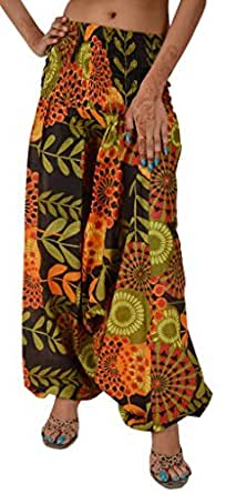 Skirts 'N Scarves Women's Cotton Maxi Print Alibaba Pant Jumpsuit (Multi)