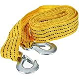 Logotto 4M Long || Super Strong Emergency Heavy Duty || Car Strap Yellow Tow Cable || 3 Ton Towing Cable || with Dual Forged Hooks || B-01