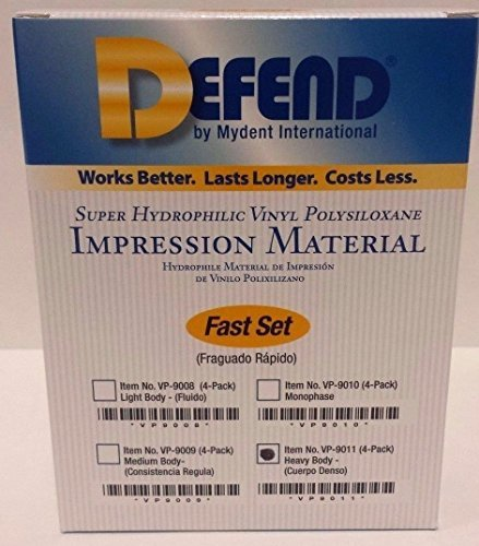 Defend Impression Material VPS - Heavy Body - Fast Set 4 x 50ml Cartridges