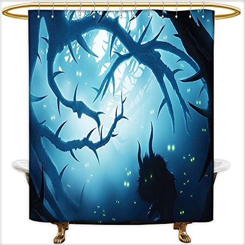 Qinyan-Home Design Shower Curtain Animal with Burning Eyes in Dark Forest at Night Horror Halloween Illustration Shower Water-Repellent,Washable.W60 x H72 Inch