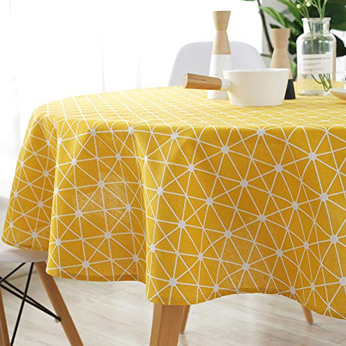 ColorBird Geometric Series Tablecloth Diamond Pattern Cotton Linen Dust-Proof Table Cover for Kitchen Dinning Tabletop Linen Decor (Round, 60 Inch, Yellow) ()