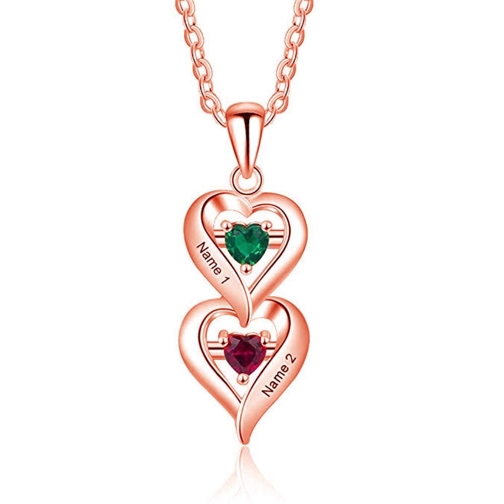 5d7c538a6e Amazon.com: KIKISHOPQ Sterling Silver 2 Stone Custom Simulated Birthstone  Heart Drop Mother's Pendant(Silver 14): Jewelry