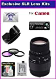 Sigma 70-300mm f/4-5.6 DG Macro Telephoto Zoom Lens For Specific For The Canon EOS 5D Mark 2 3 II III 5DM2 5DM3 6D 7D 60D 60Da 70D DSLR Digital Camera With Super Saver Accessory Package Kit Includes High Resolution 3 piece Filter Kit + 6 Year Extended Len