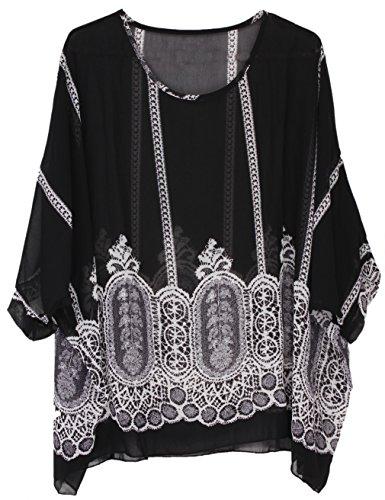 Soie Chauve Chemisier Shirts souris Hengsong Tops Manches Mousseline Courtes Impression Femme pour de Noir xnxvB6q