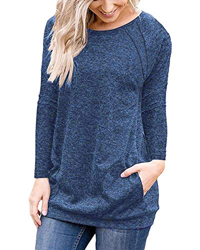 6eb00cfa Uniboutique Womens Short Sleeve Round Neck Tunics T Shirts Tops Blouses  with Pockets