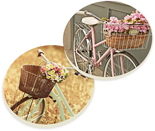 Bicycle Baskets Cottage Chic Ceramic Car Coaster Pack (Set of 2) ()