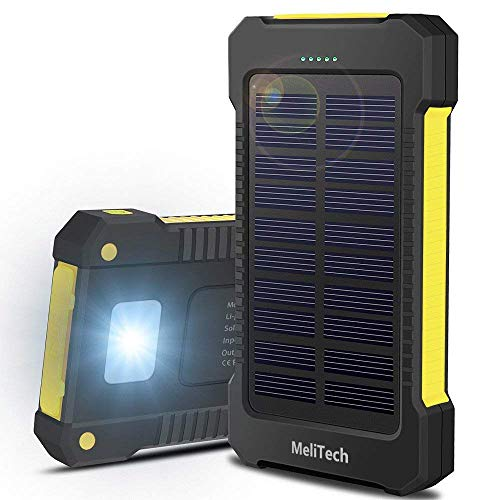MeliTech Portable Solar Charger Waterproof Mobile Power Bank 20000mAh External Backup Battery Dual USB 5V 1A/2A Output with LED Flashlight and Compass for Tablet Camera iPhone Samsung (Yellow)