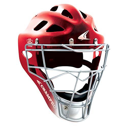 Pro-Plus Hockey Style Catcher's Helmet & Mask - NOCSAE Standards (Scarlet Red, Varsity / Adult (Fits Most 7 - 7½))