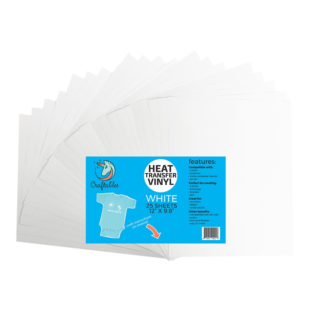 (25) 12'' x 9.8'' Sheets of Craftables White Heat Transfer Vinyl HTV - Easy to Weed Tshirt Iron on Vinyl for Silhouette Cameo, Cricut, All Craft Cutters. Ships Flat, Guaranteed Size