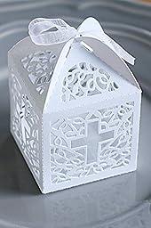 12 pc white cross laser cut wedding bridal favor box christening baby shower / baptism favor gift box/religious gift box 3.5 \