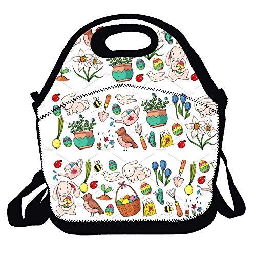 (Feddiy Easter vector Lunch Bag Tote Handbag Gourmet Tote Cooler Warm Pouch- Lightweigh)