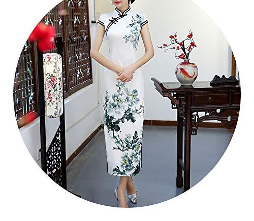 呼ぶスチールバスチャイナドレス長い衣装エレガントなスリムレトロドレス,チャイナドレスA,XXXL
